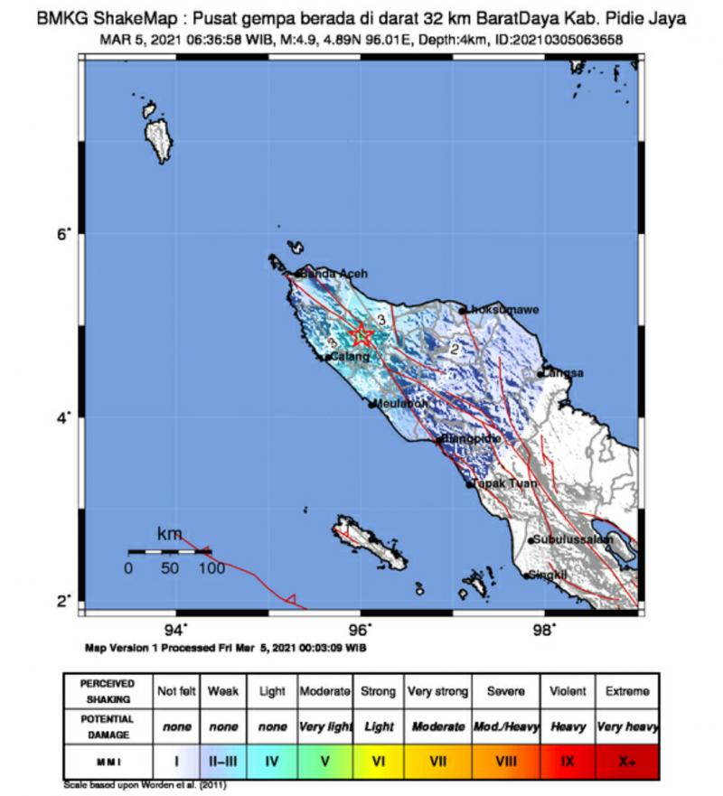 Gempa 4,9 Magnitudo Guncang Pidie Jaya, Terasa Hingga Banda Aceh