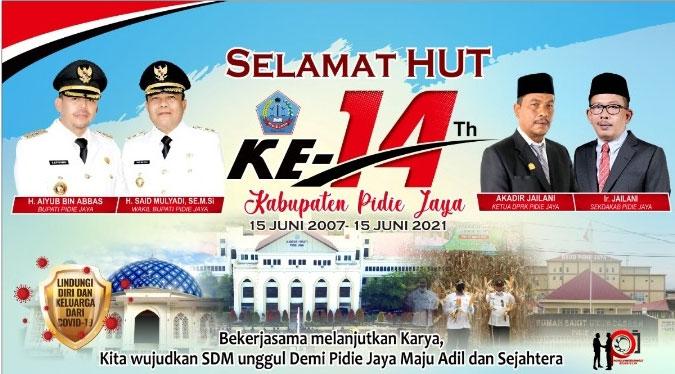 Banner HUT Pidie Jaya ke 14
